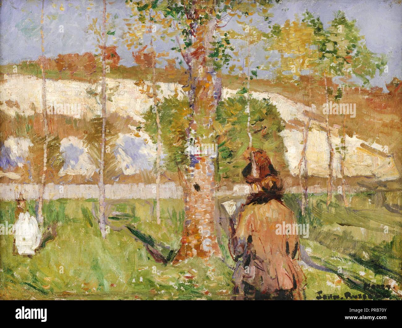 John Peter Russell, Madame Sisley on the Banks of the Loing at Moret 1887 Oil on canvas, Art Gallery of New South Wales, Australia. - Stock Image