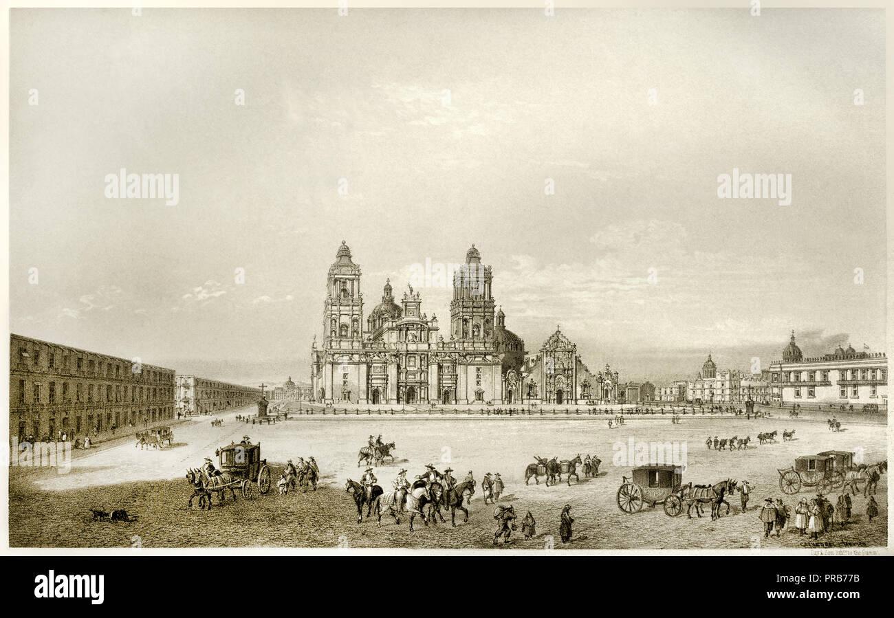 John Philips, The Metropolitan Cathedral 1848 Lithograph, Museo Nacional de Arte, Mexico City, Mexico. - Stock Image