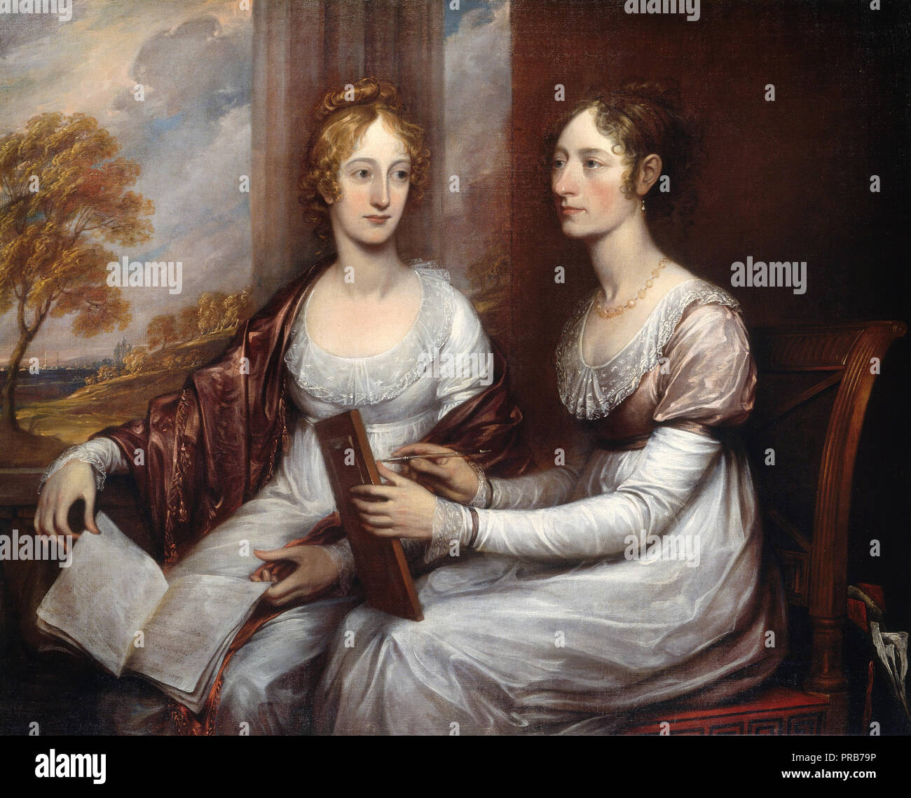 John Trumbull, The Misses Mary and Hannah Murray 1806 Oil on canvas, Smithsonian American Art Museum, Washington, D.C., USA. - Stock Image