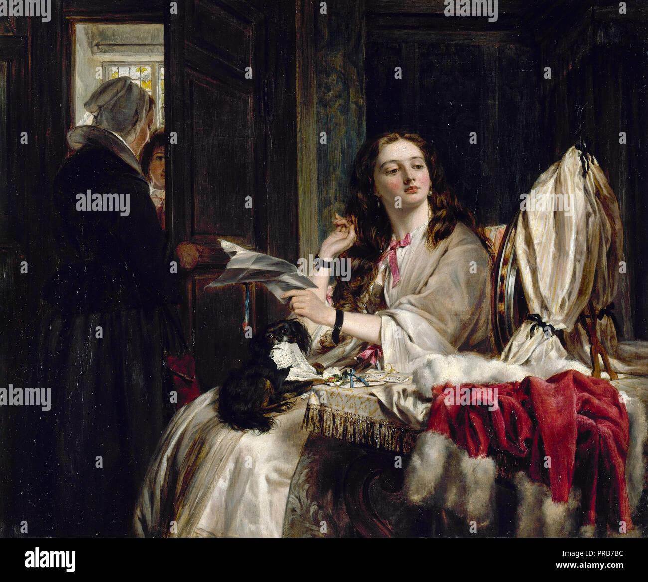 John Callcott Horsley, Morning of St Valentine 1865, Oil on canvas, Walker Art Gallery, Liverpool, England. - Stock Image