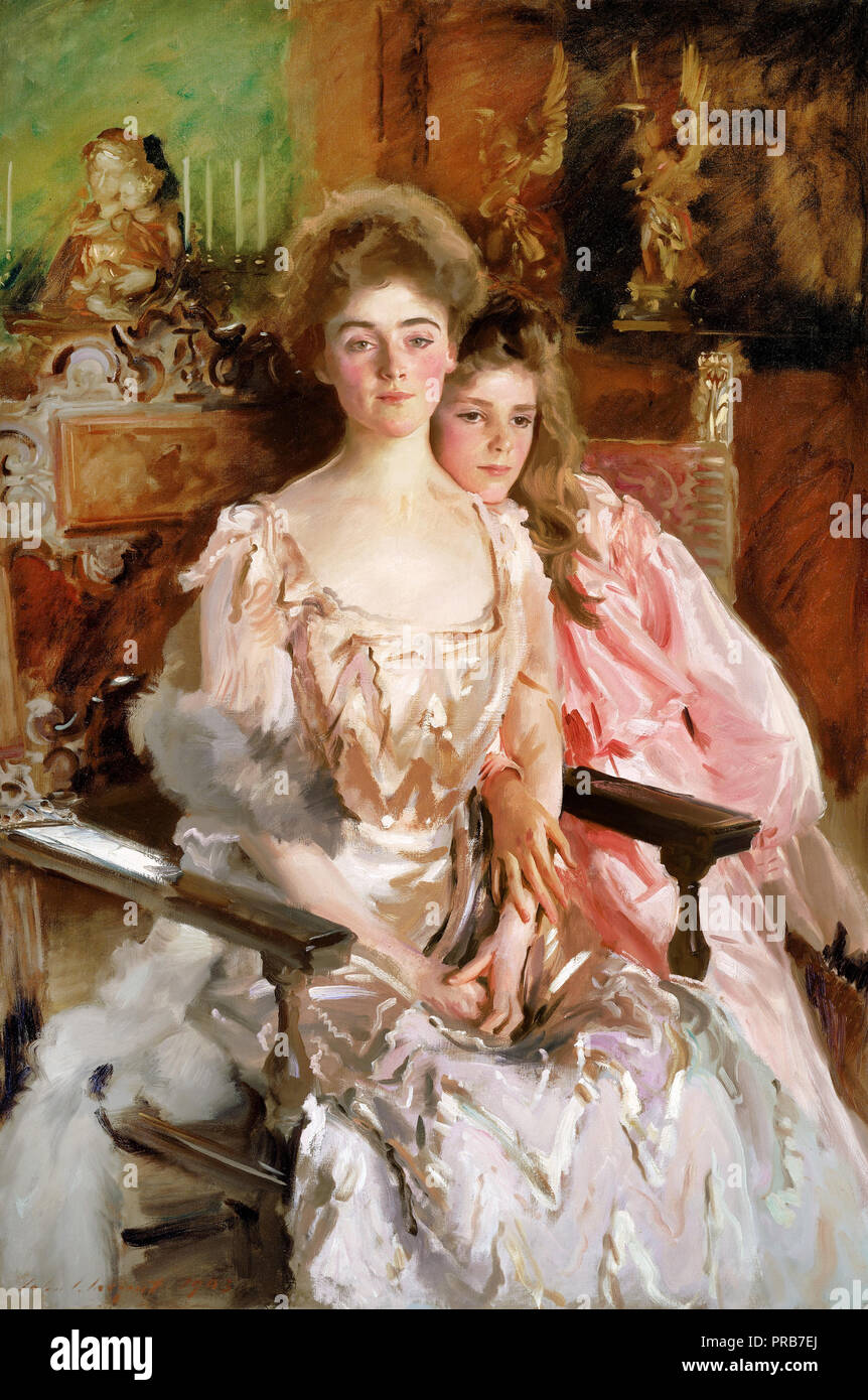 John Singer Sargent, Mrs. Fiske Warren ( Gretchen Osgood ) and Her Daughter Rachel 1903 Oil on canvas, Museum of Fine Arts Boston, USA. - Stock Image