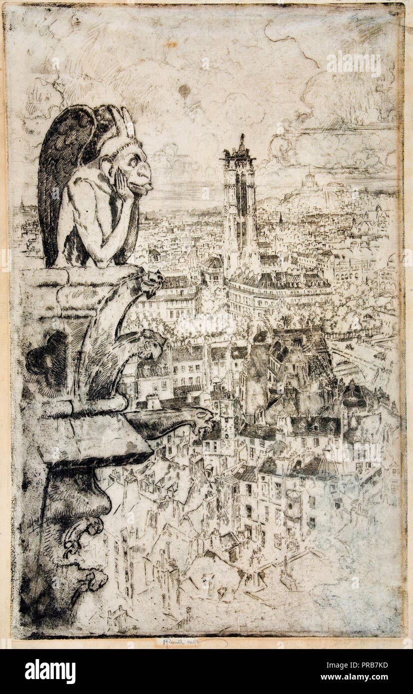 Joseph Pennell, Paris from Notre-Dame, Circa 1893 Etching on paper, Museu Nacional d'Art de Catalunya, Barcelona, Spain. - Stock Image
