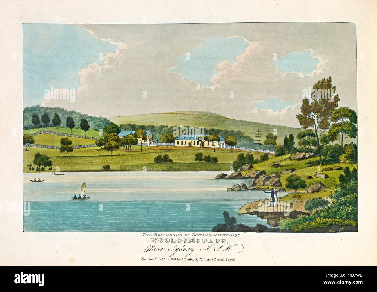 Joseph Lycett, The Residence of Edward Riley Esquire, Wooloomooloo, Near Sydney N. S. W. 1825, Illustrated Books, National Gallery of Victoria, Austra - Stock Image