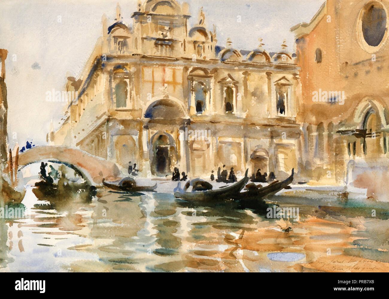John Singer Sargent, Rio dei Mendicanti, Venice, Circa 1909, Watercolor, Indianapolis Museum of Art, USA. Stock Photo