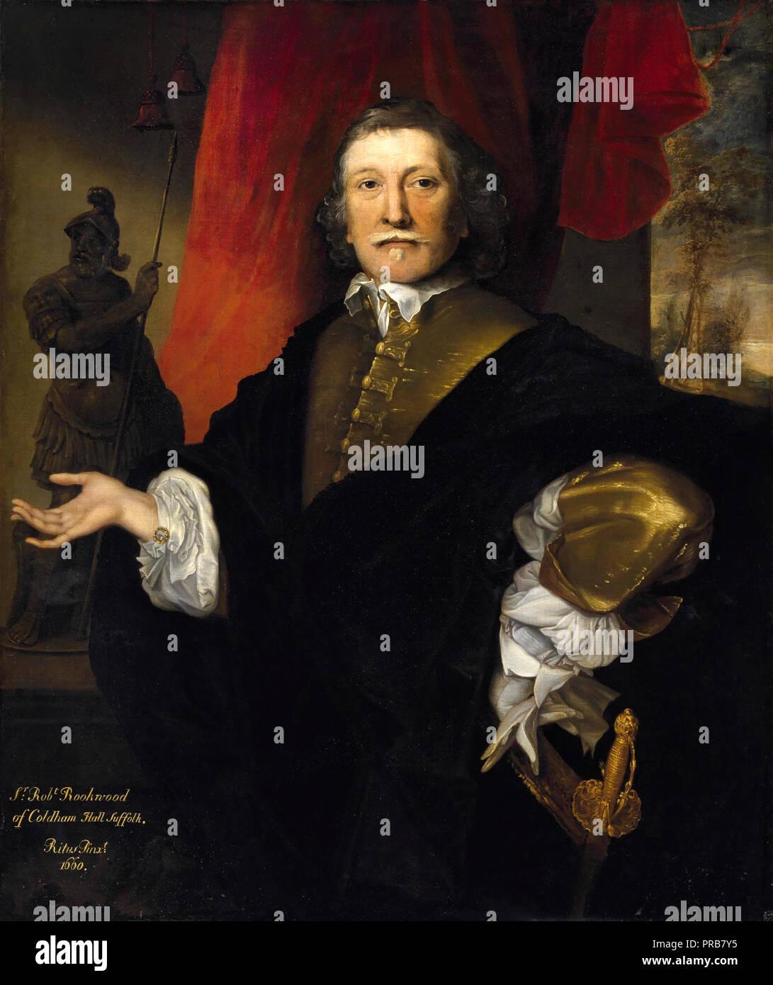John Michael Wright, Sir Robert Rookwood 1660 Oil on canvas, Museum of Fine Arts, Houston, Texas, USA. - Stock Image