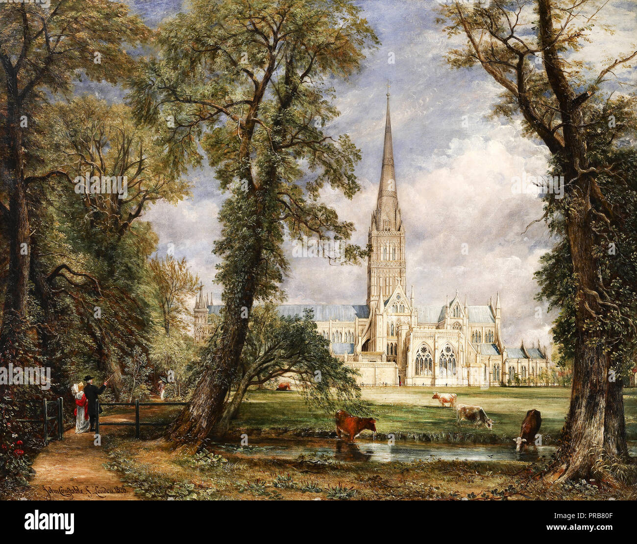 John Constable, Salisbury Cathedral from the Bishop's Garden 1826 Oil on canvas, Frick Collection, New York, USA. Stock Photo