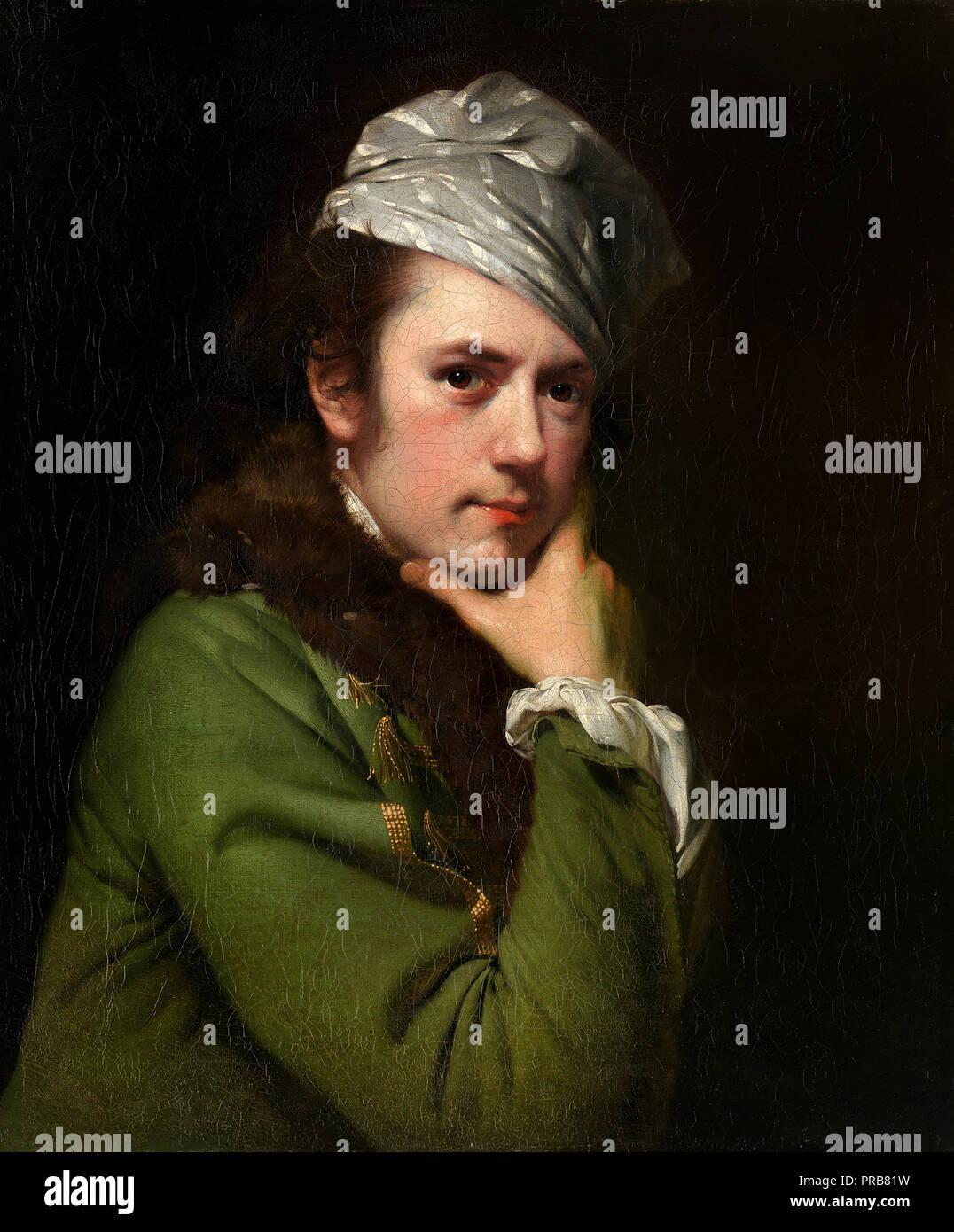 Joseph Wright, Self-portrait 1765-1768 Oil on canvas, National Gallery of Victoria, Australia. - Stock Image
