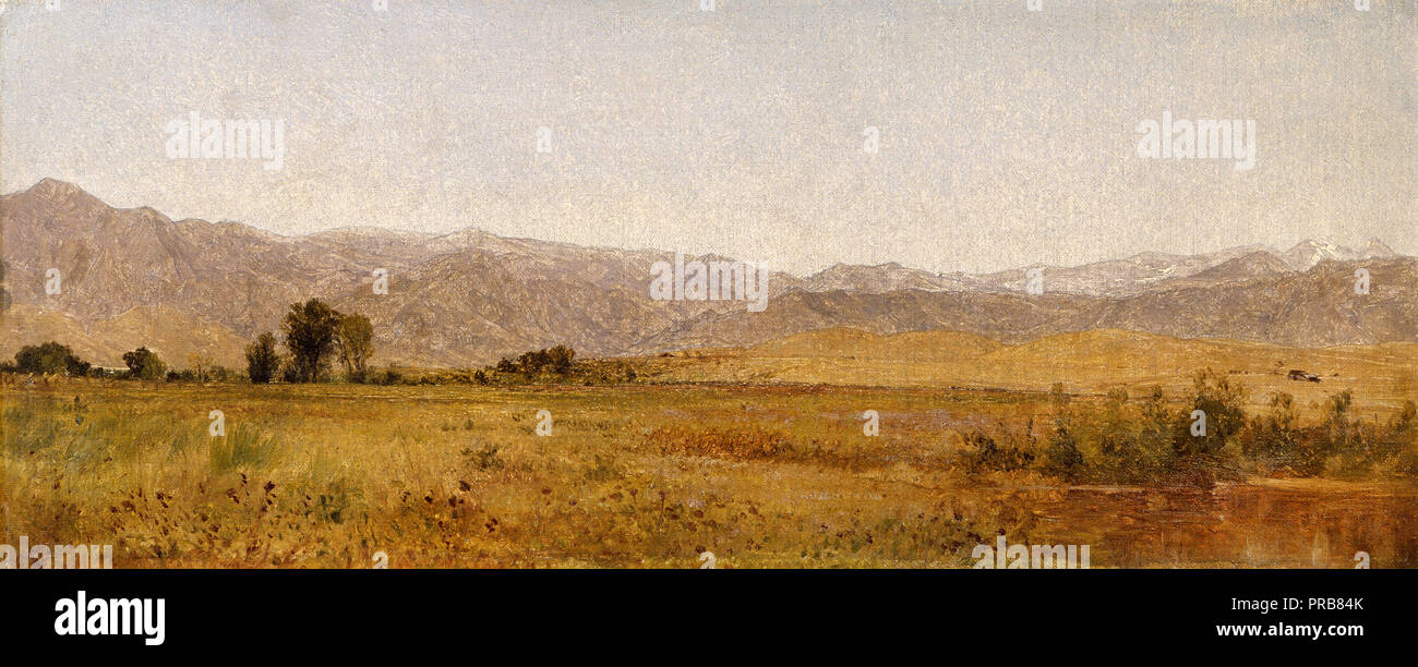 John Frederick Kensett, Snowy Range and Foothills from the Valley of Valmo 1870 Oil on canvas, Denver Art Museum, USA. - Stock Image