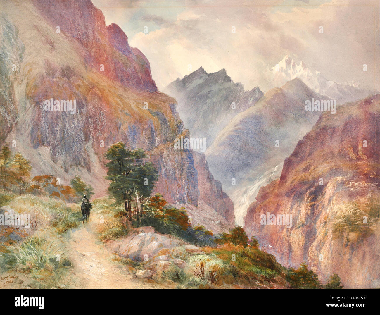 John Gully, In the Southern Alps 1881 Watercolor, Museum of New Zealand Te Papa Tongarewa, Wellington, New Zealand. - Stock Image