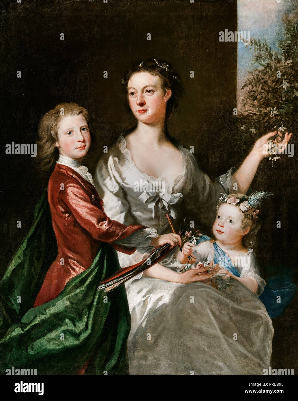 Joseph Highmore, The Artist's Wife Susanna, Son Anthony and Daughter Susanna, Circa 1728, Oil on canvas, Art Gallery of South Australia. - Stock Image