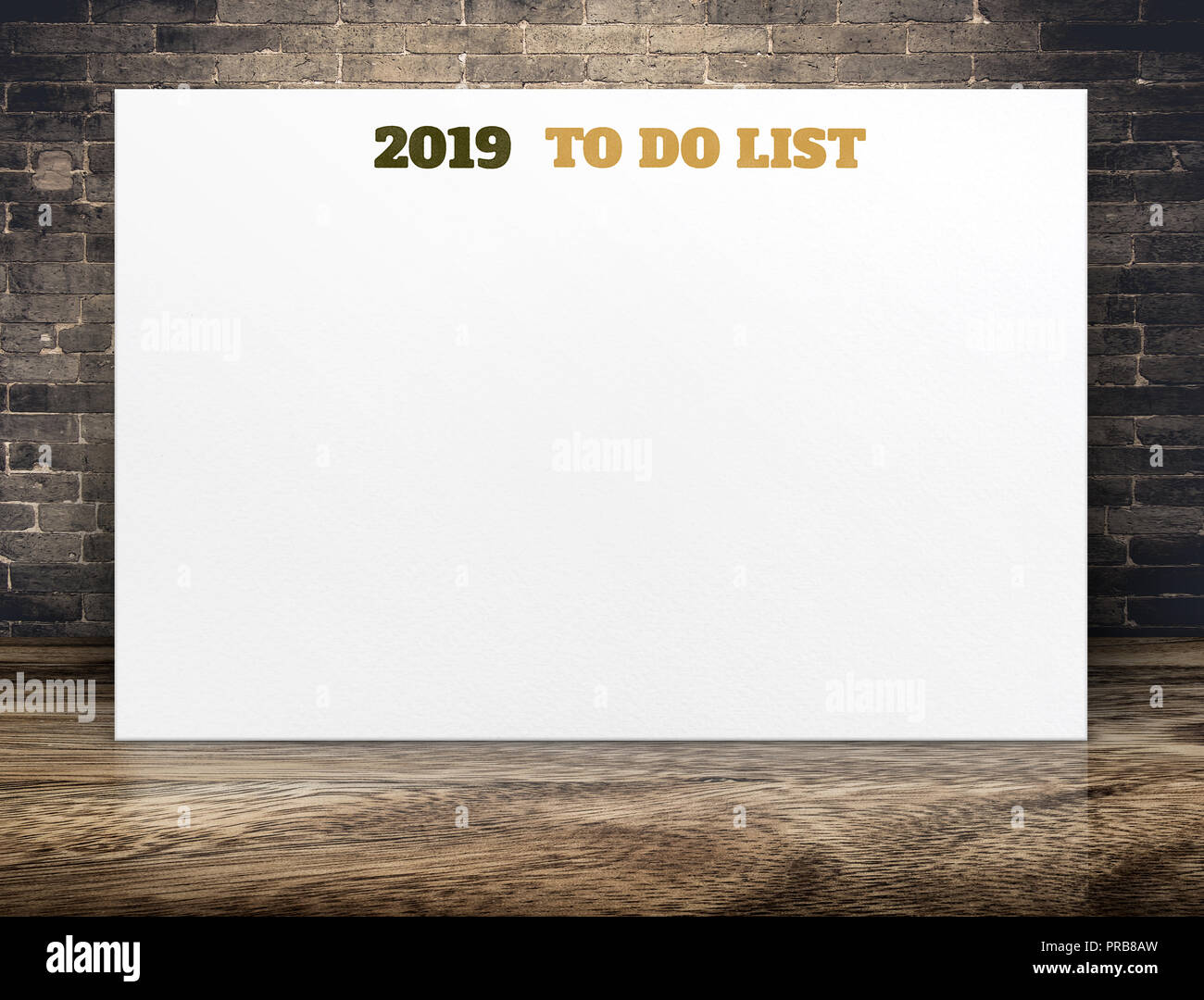2019 new year to do list on white paper poster on brown wood floor
