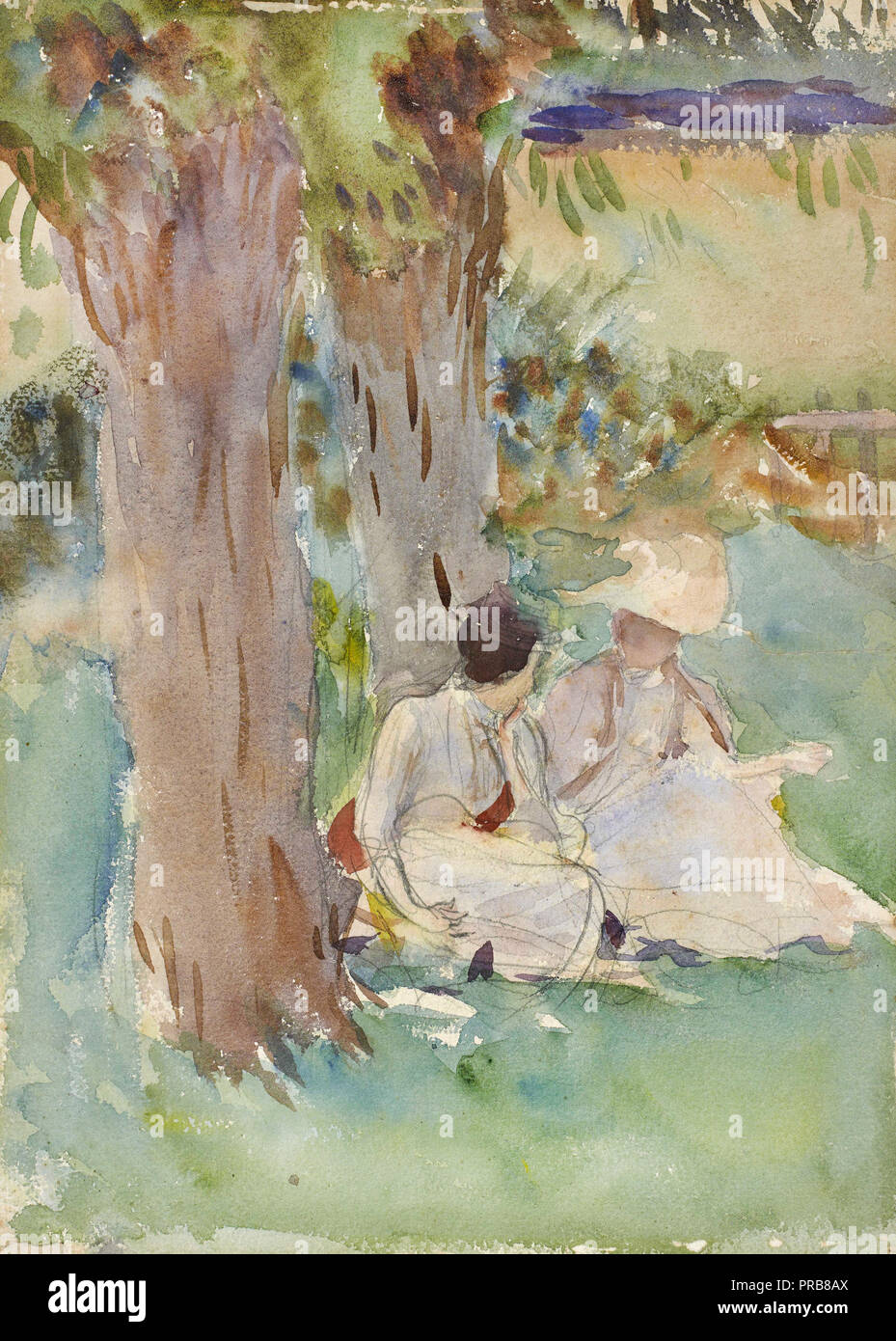 John Singer Sargent, Under the Willows 1888 Watercolor, Museum of Fine Arts, Houston, USA. Stock Photo
