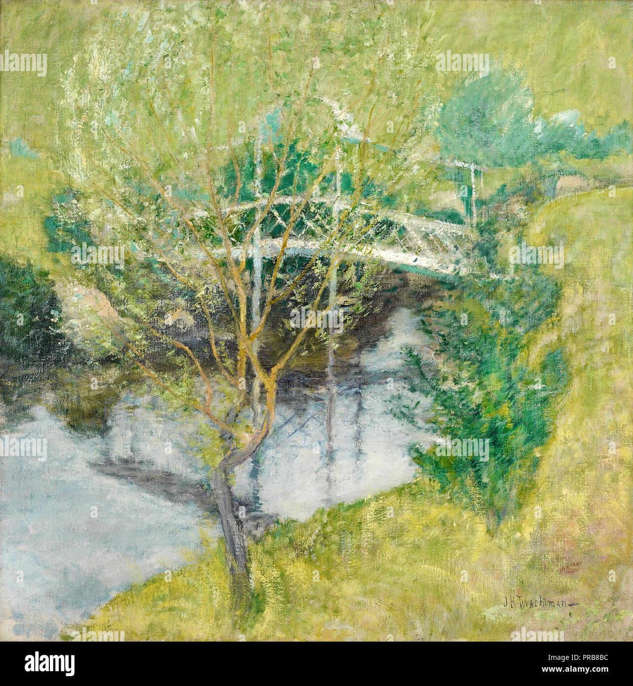 John Henry Twachtman, The White Bridge, Circa 1890-1900 Oil on canvas, Minneapolis Institute of Arts, USA. - Stock Image