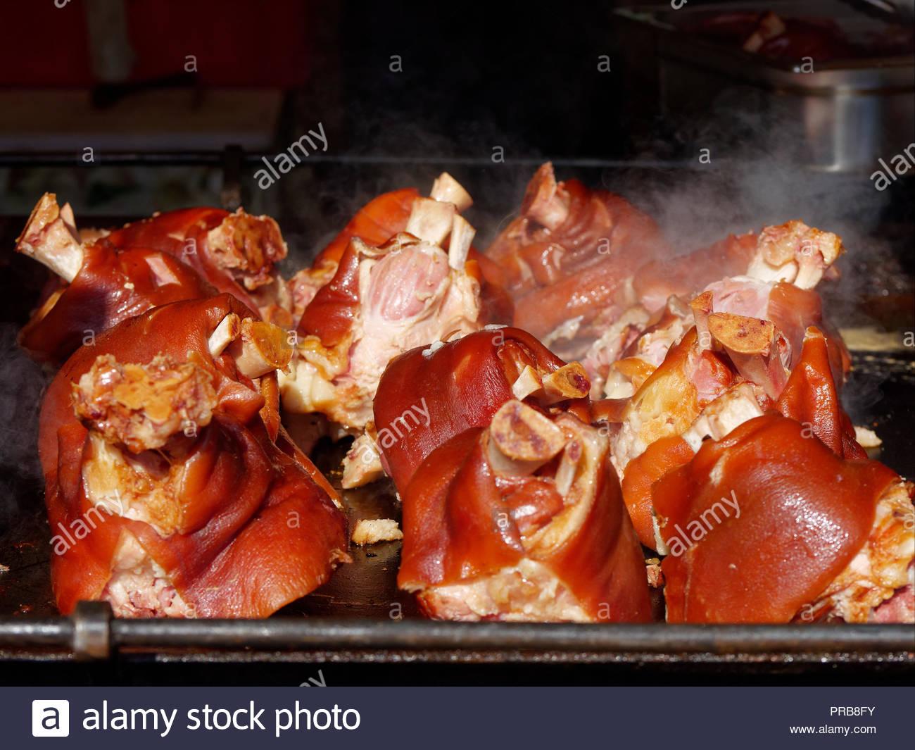 Pork knuckle on grill, European cuisine - Stock Image