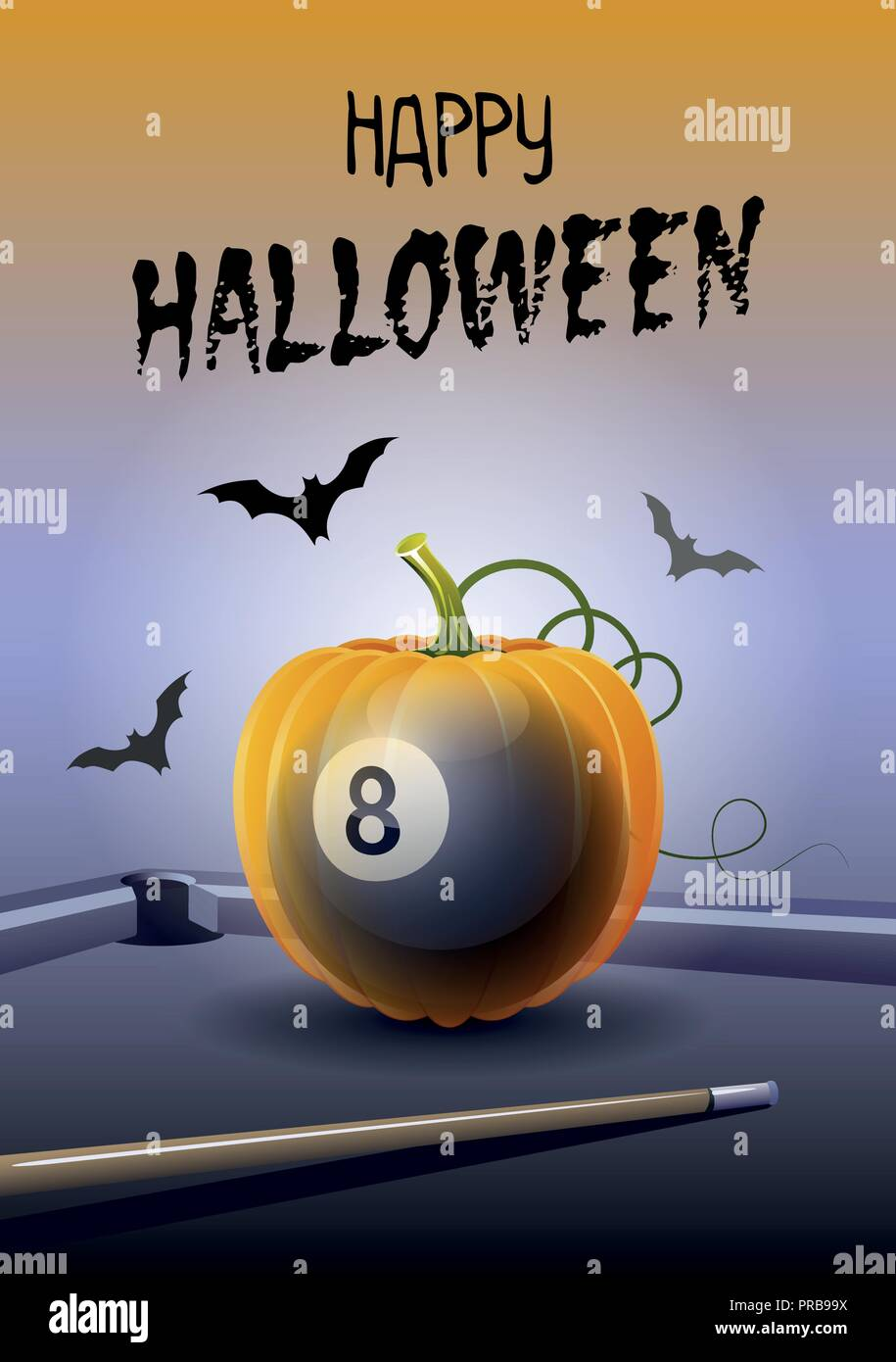 Happy Halloween. Sports greeting card. Realistic billiard ball in the shape of a Pumpkin. Vector illustration. - Stock Image