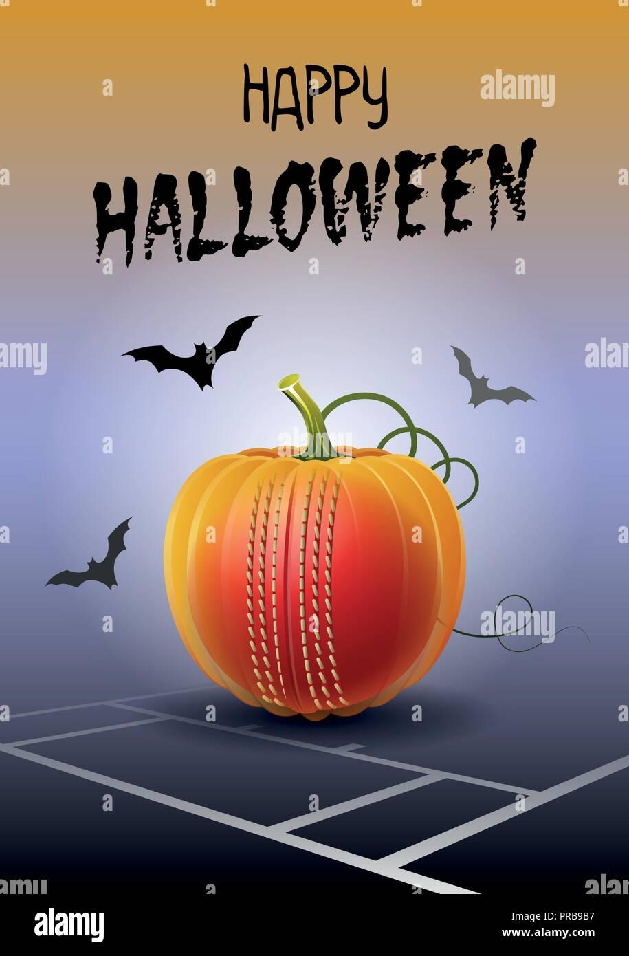 Happy halloween sports greeting card realistic cricket ball in the happy halloween sports greeting card realistic cricket ball in the shape of a pumpkin vector illustration m4hsunfo