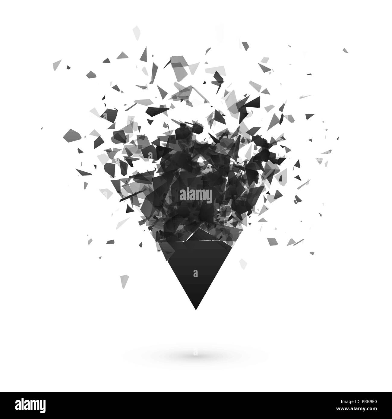Explosion effect. Shatter dark triangle. Abstract cloud of pieces after explosion. Vector illustration isolated on transparent background - Stock Vector