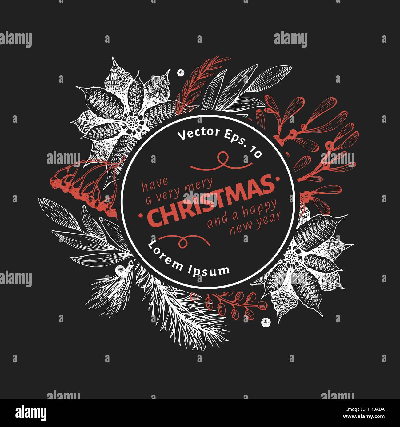 Greeting Christmas card in retro style. Vector hand drawn illustrations on chalk board. Logo template with coniferous, pine branches, berries, holly,  - Stock Vector