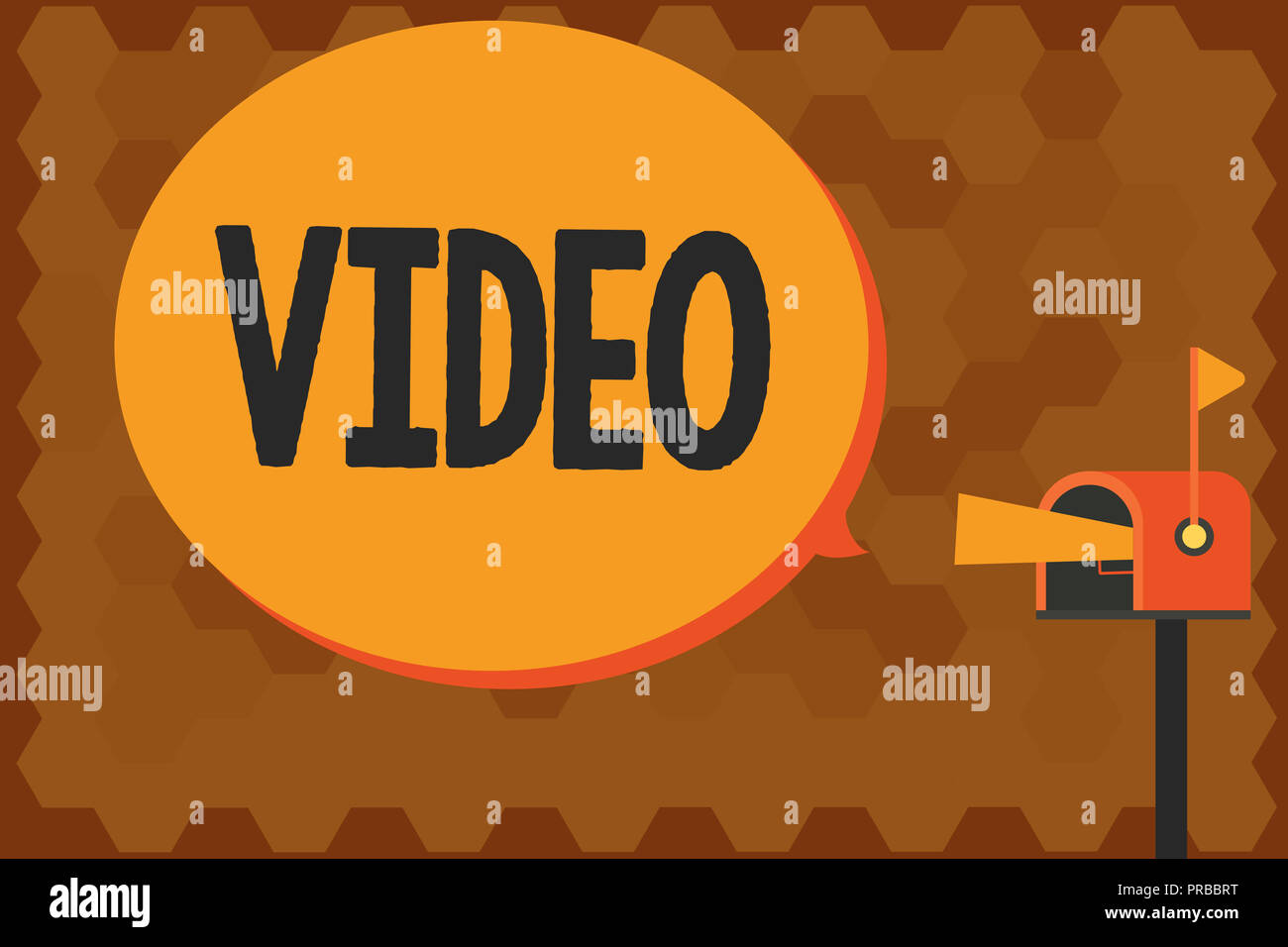 Handwriting text writing Video. Concept meaning recording reproducing or broadcasting of moving visual images. - Stock Image