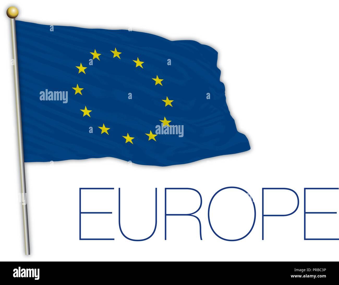 European Union flag, vector illustration - Stock Image