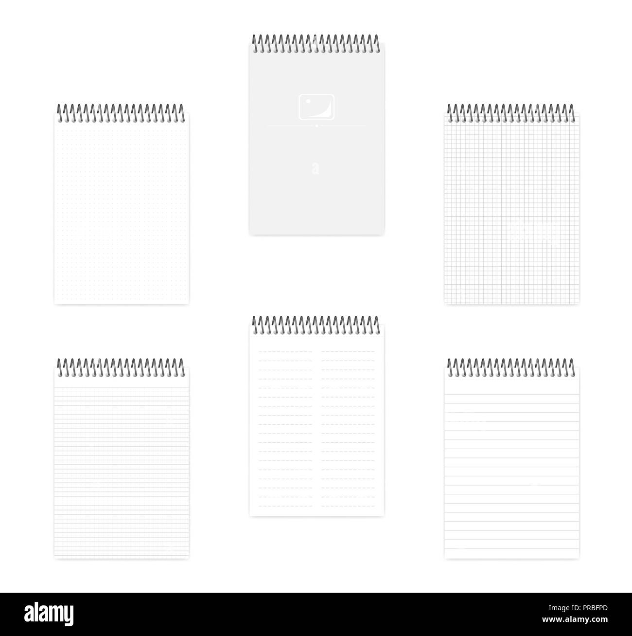 A5 top spiral notebook set, realistic vector mockup. Wire bound notepad  with various ruled paper, mock up. Loose leaf note book, template