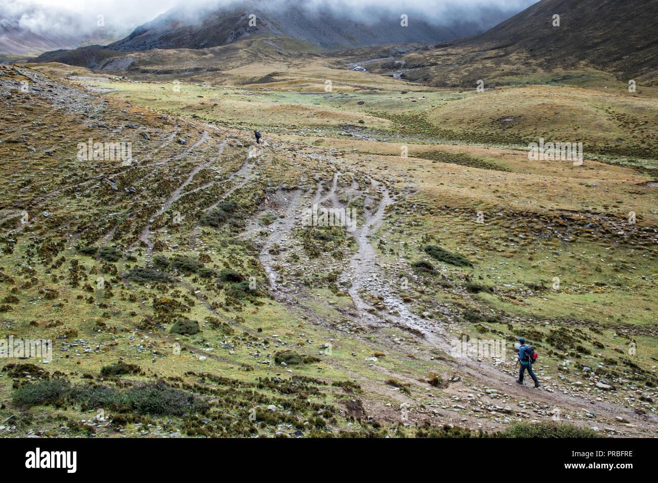 Trail to Nyile La pass, Thimphu District, Snowman Trek, Bhutan Stock Photo