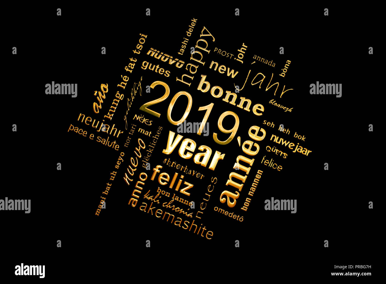 New year greeting card 2019. Multilingual word cloud, golden letters on black background - Stock Image