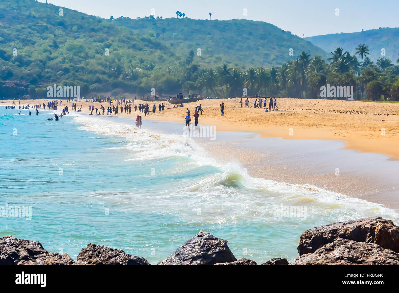 photograph of goa sea beach taken in christmas holiday during new year celebration in landscape style useful for background screen saver e cards websi