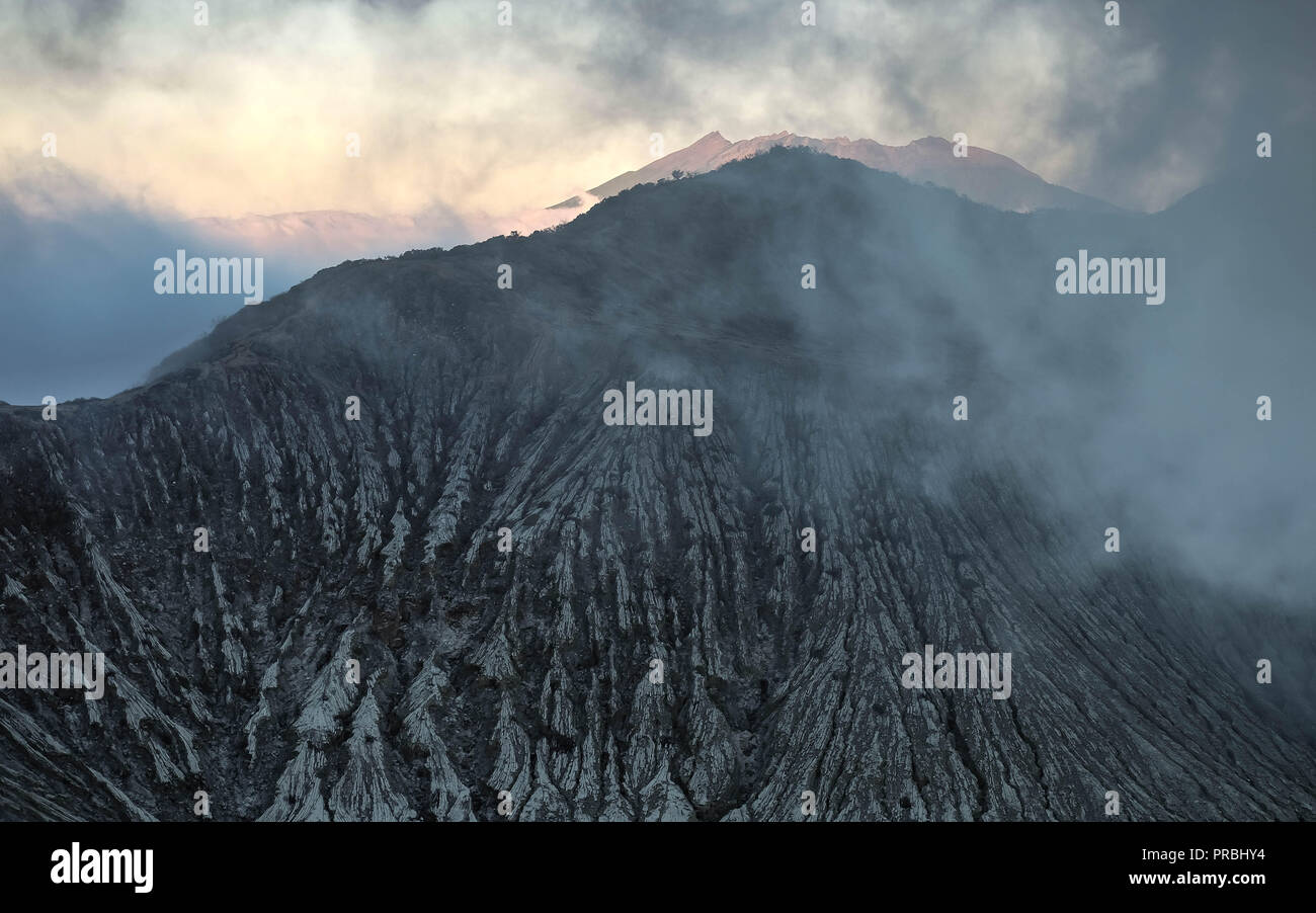 The top of the KAWAH-IJEN Volcano located in East Java, Indonesia. It the border of the top. And the texture so strange. - Stock Image