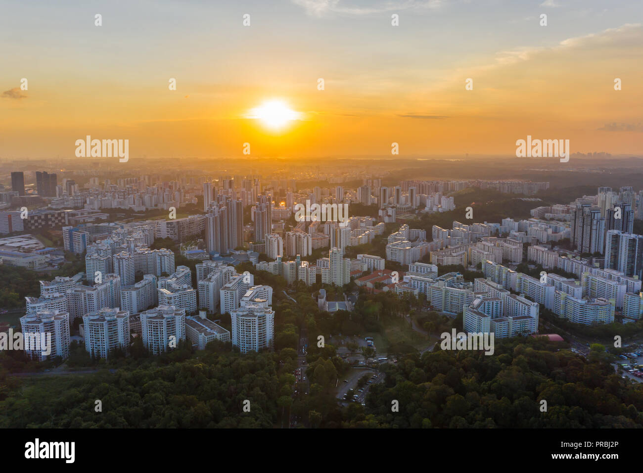 Aerial view of Bukit Batok area during sunset timing in Singapore - Stock Image