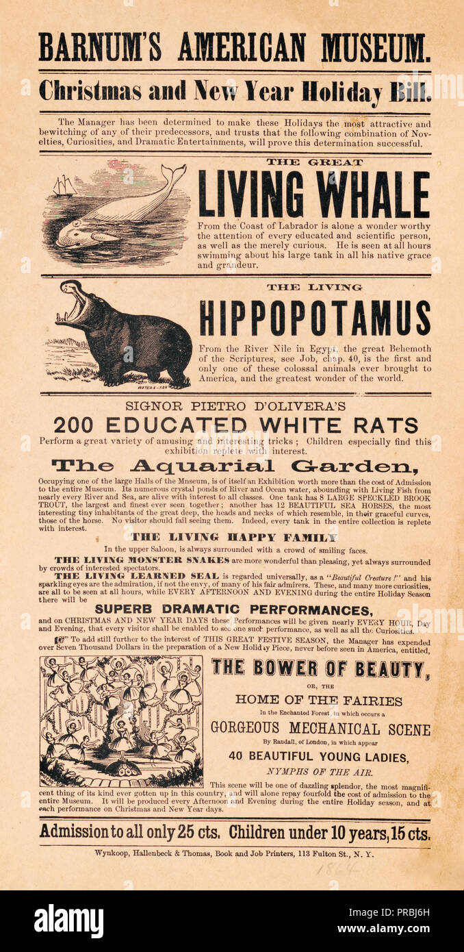 Barnum\'s American Museum. Christmas and New Year holiday bill Stock ...
