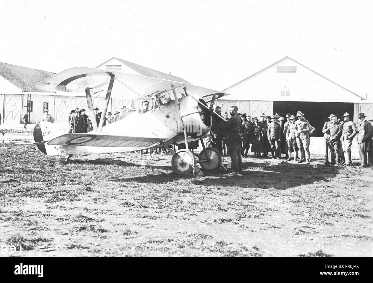 September 1918 - A French type, Nieuport 27, used at Mineola, L.I. in instructing cadets difficult air stunts - Stock Image