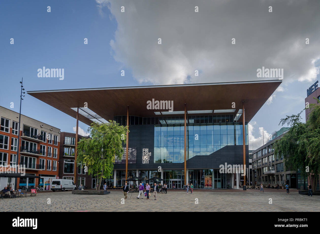 Leeuwarden, The Netherlands, May 14 2017, the Wilhelminaplein and the Frisian Museum - Stock Image