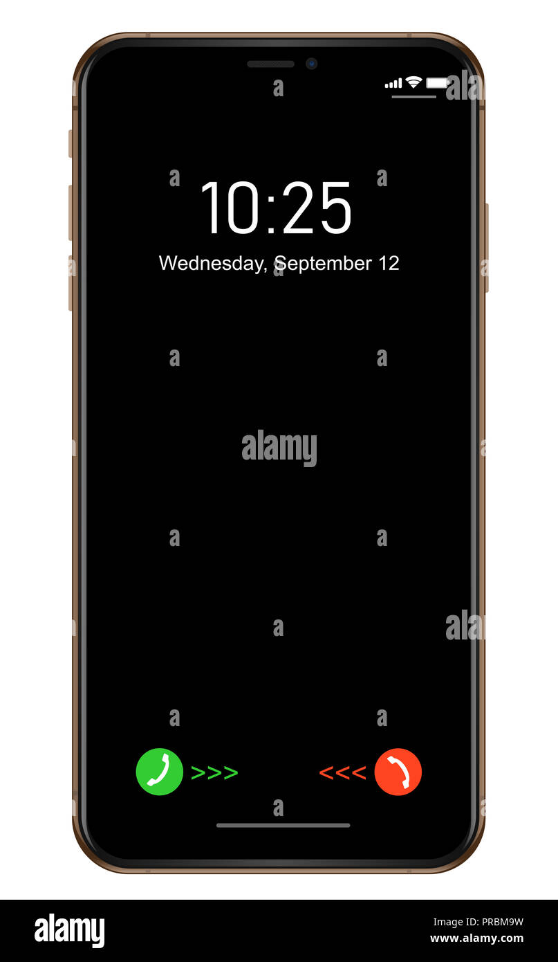 Brand new realistic mobile phone smartphone in Apple iPhone XS, XS Max gold - Stock Image