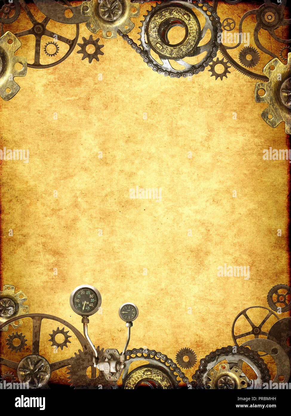 grunge background with paper texture and metallic frame with vintage