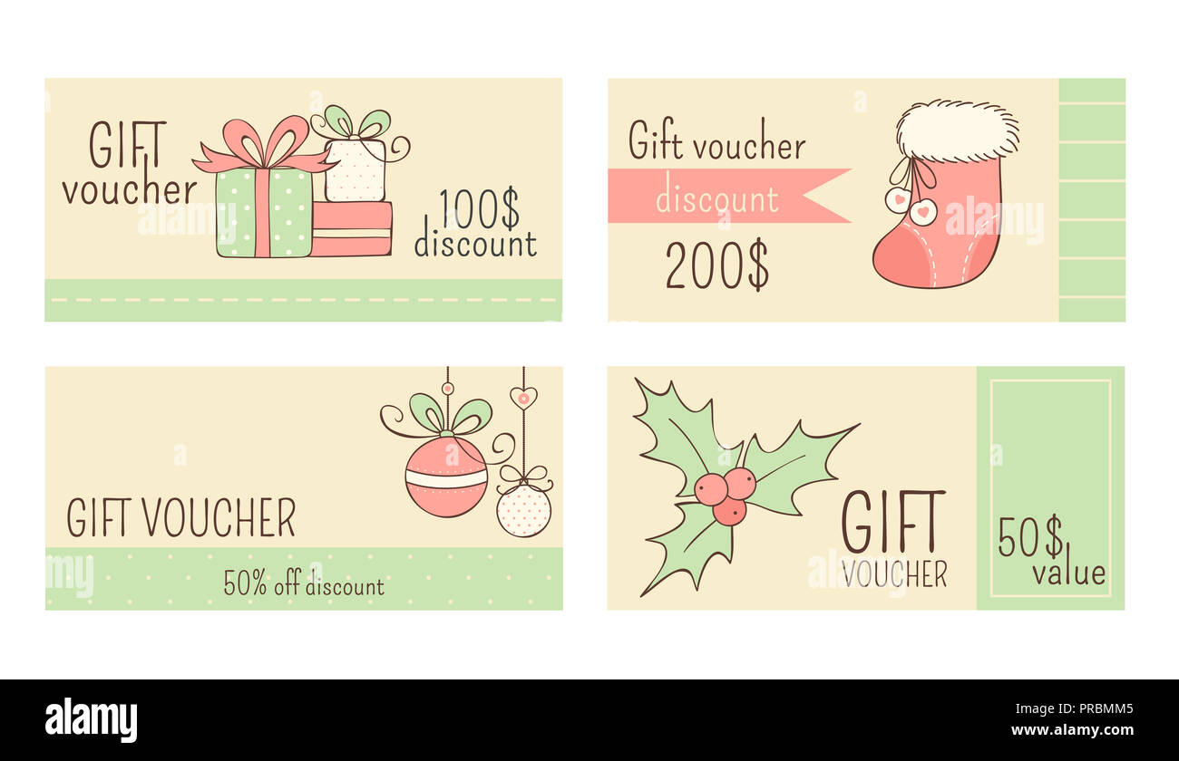 set of horizontal christmas gift voucher label coupon sticker in