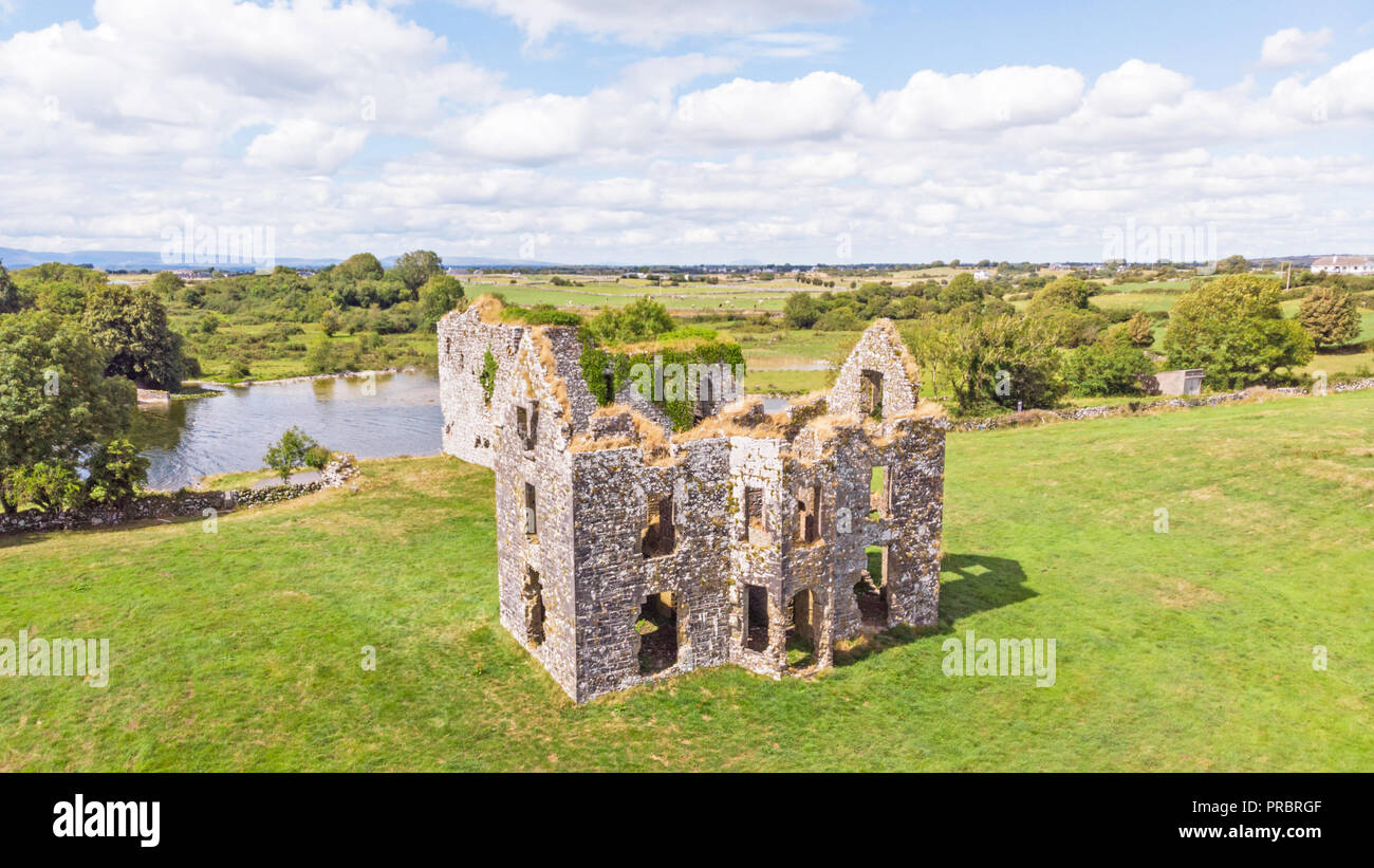 An aerial view of Annaghkeen Castle, situated next to Lough Corrib in County Galway in Ireland. Stock Photo