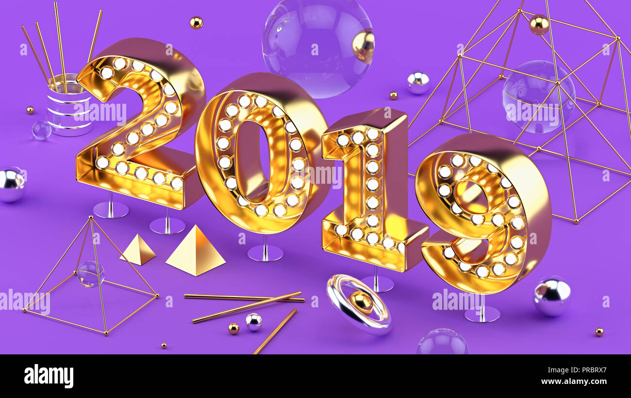2019 Happy New Year isometric closeup 3D installation with 2019 numbers on ultraviolet background. - Stock Image