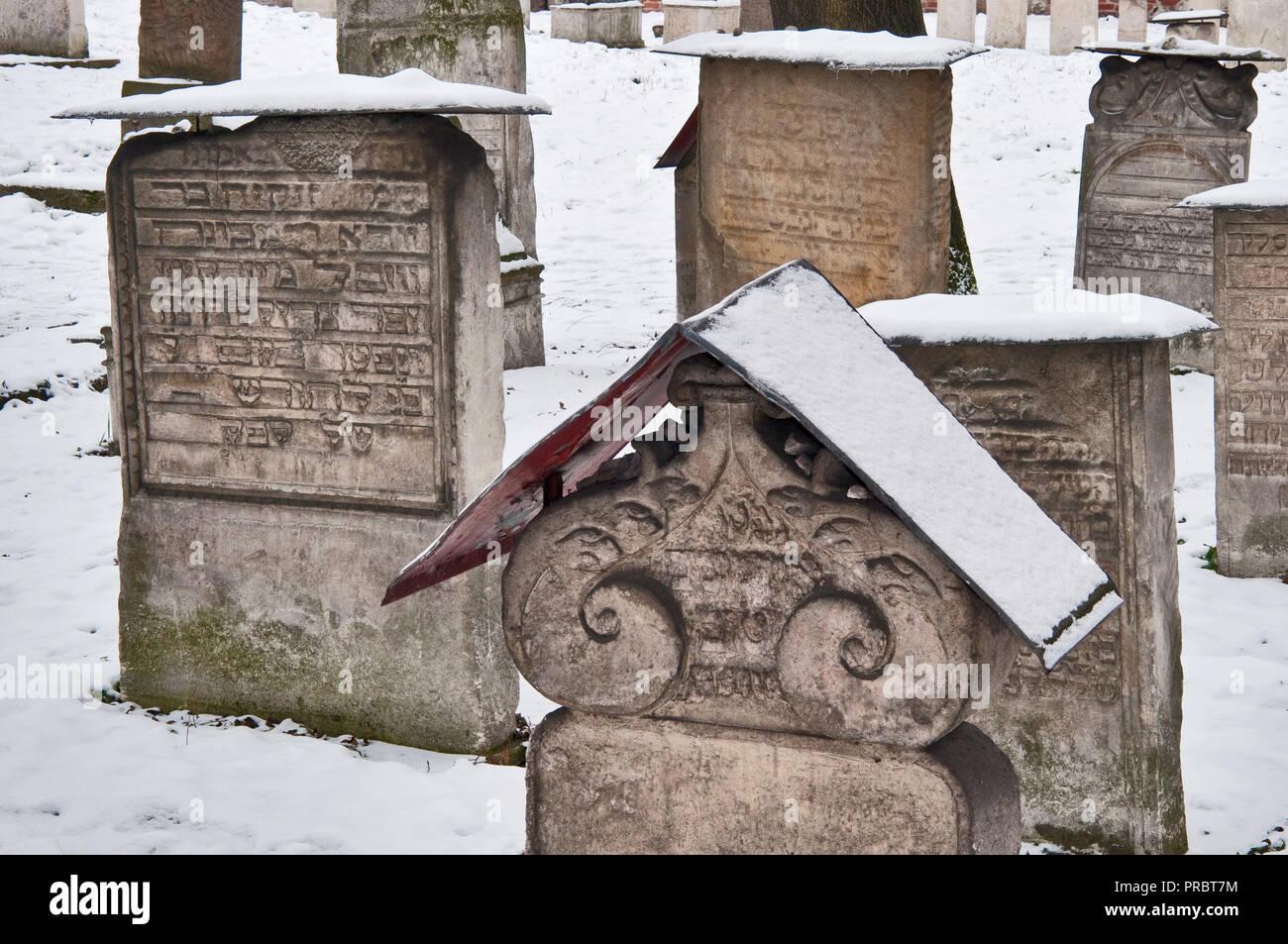 Gravestones at Remuh Cemetery, Jewish Quarter at Kazimierz district, Krakow, Poland - Stock Image