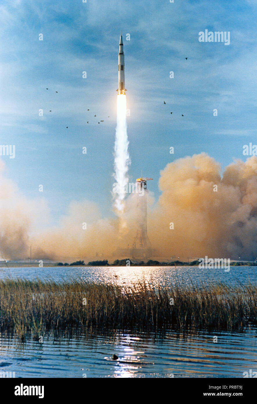 (21 Dec. 1968)--- The Apollo 8 (Spacecraft 103/Saturn 503) space vehicle is launched from Pad A, Launch Complex 39, Kennedy Space Center (KSC), at 7:51 a.m. (EST), Dec. 21, 1968. The crew of the Apollo 8 lunar orbit mission is astronauts Frank Borman, commander; James A. Lovell Jr., command module pilot; and William A. Anders, lunar module pilot. Apollo 8 is the first manned Saturn V launch. - Stock Image