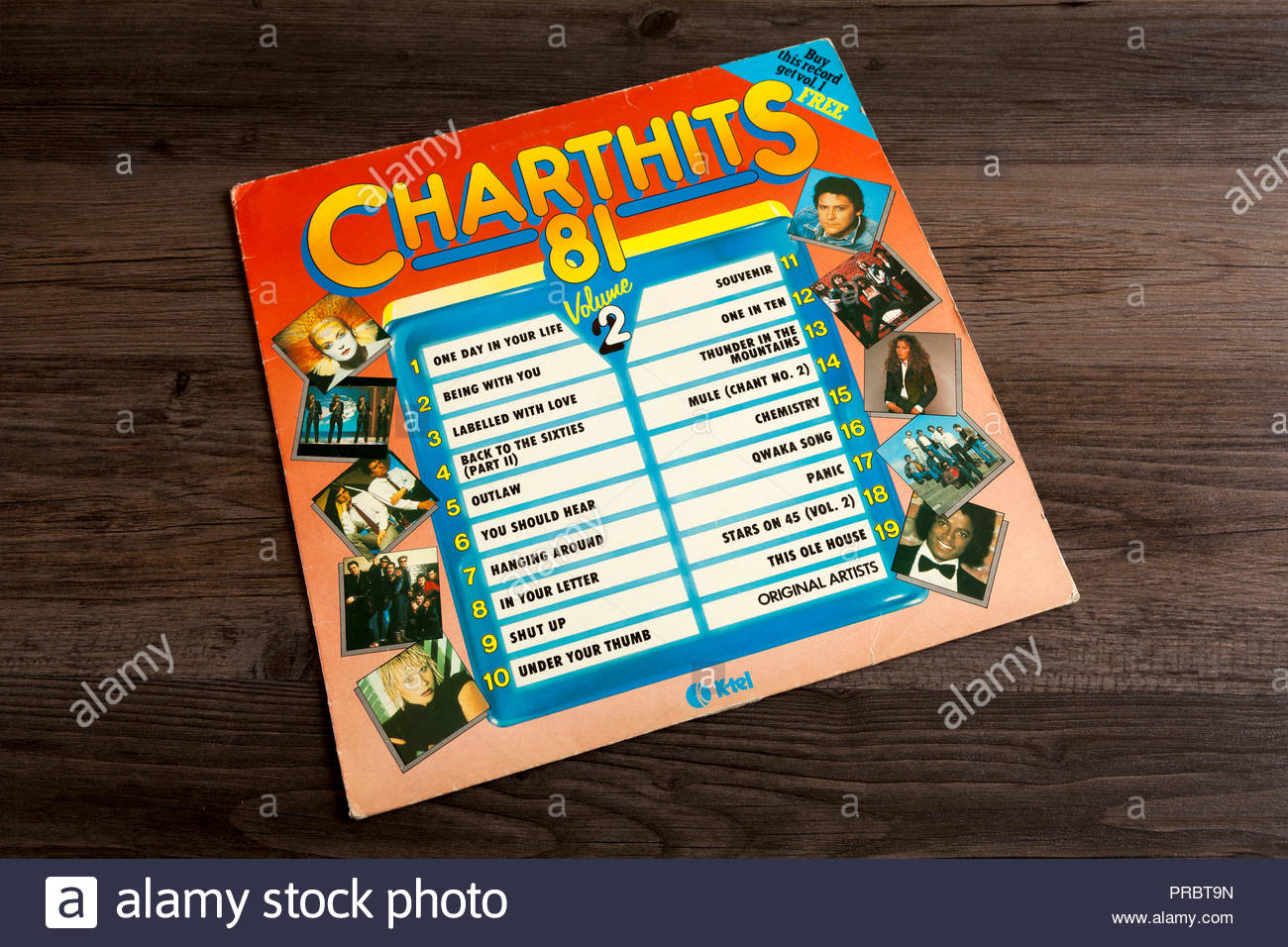 Chart Hits 81 - Compilation album cover from the 1980s - Stock Image