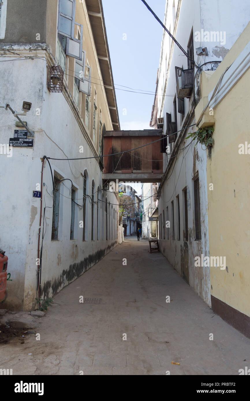 Streets scene in Stone Town, Zanzibar - Stock Image