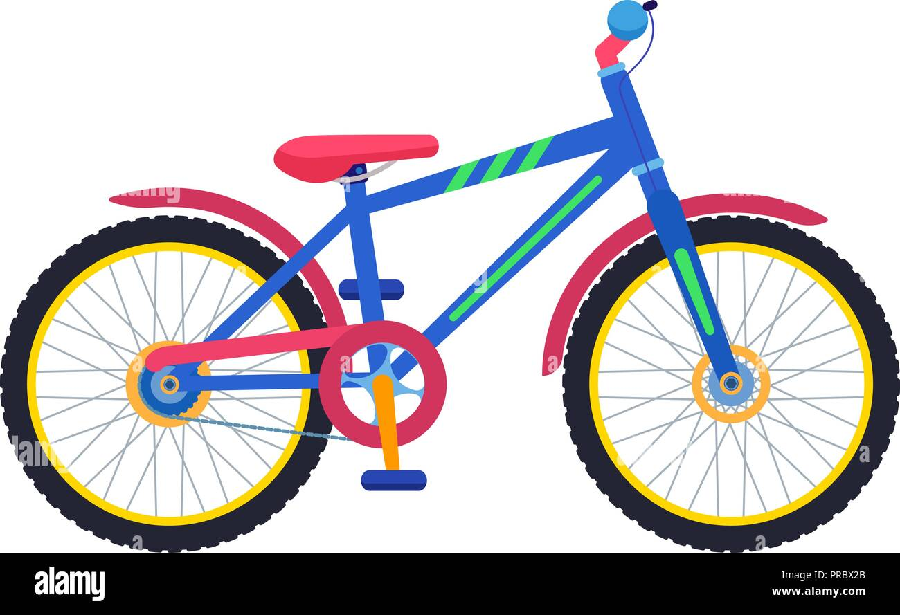 Vector two-wheeled colorful children bicycle - Stock Image