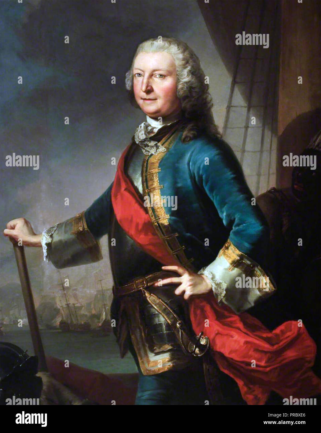 GEORGE ANSON, Ist Baron Anson (1697-1762) Royal Navy officer who circumnavigated the world between 1740 and 1744 while Britain was at war with Spain - Stock Image