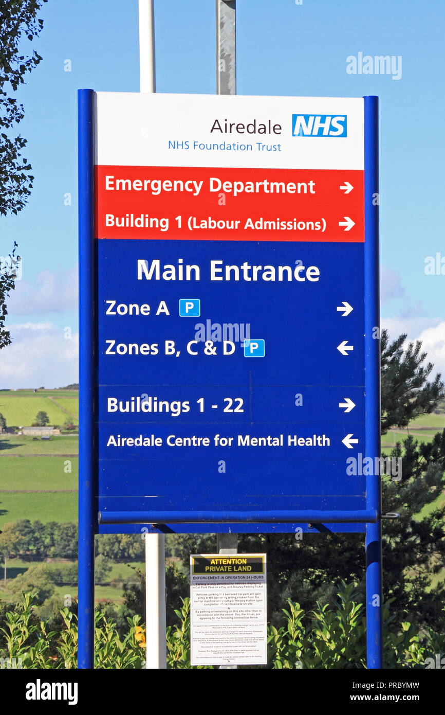 Sign at entrance to Airedale & District Hospital, Steeton