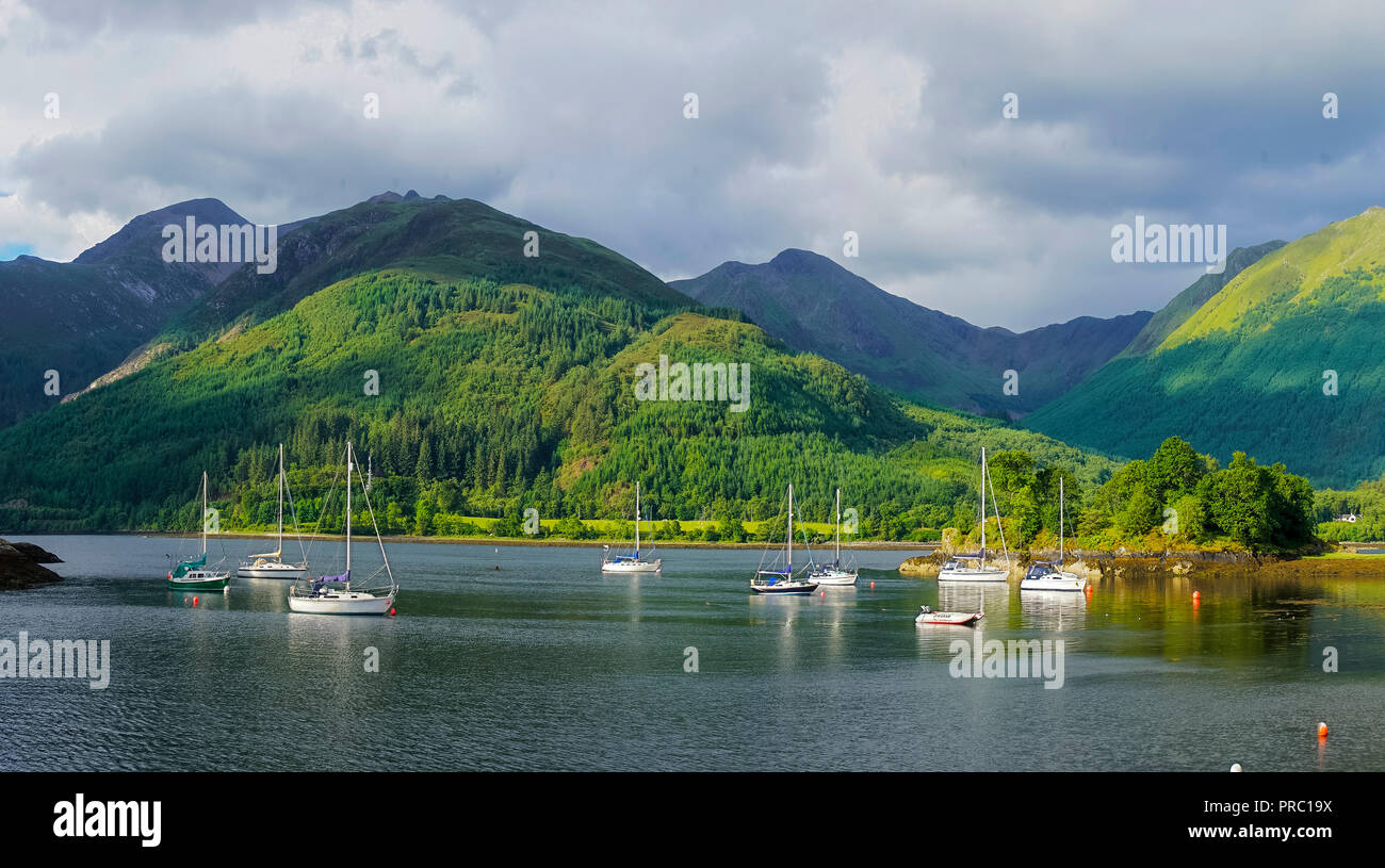 Panorama, Loch Leven, eveing light, Bishop's Bay, looking to Glencoe Mountains, North Ballachulish, Highland Region, Scotland UK - Stock Image