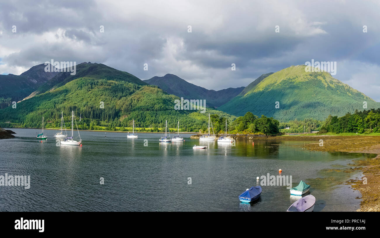 Panorama, Loch Leven, eveing light, Bishop's Bay, looking to Glencoe Mountains, North Ballachulish, Highland Region, Scotland UK Stock Photo