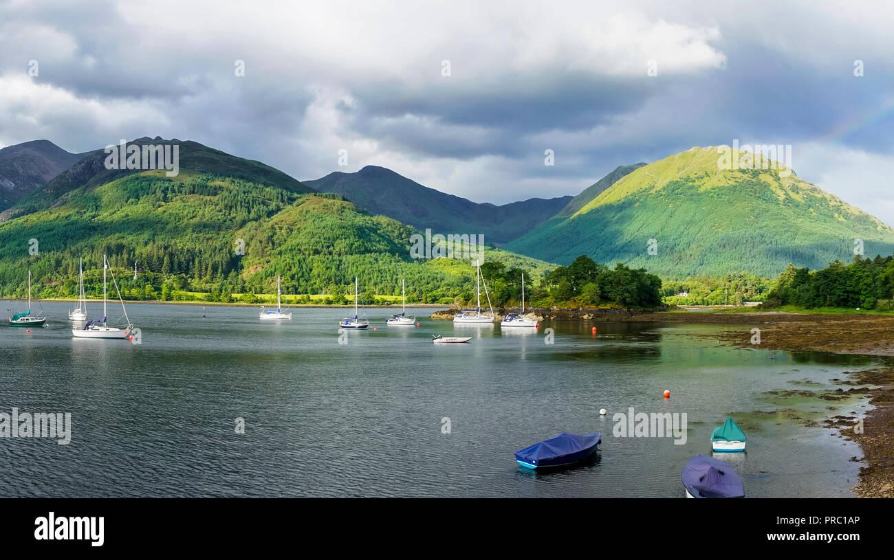 Panorama, Loch Leven, eveing light, Bishop's Bay, looking to Glencoe Mountains, North Ballachulish, Highland Region, Scotland UK - Stock Image