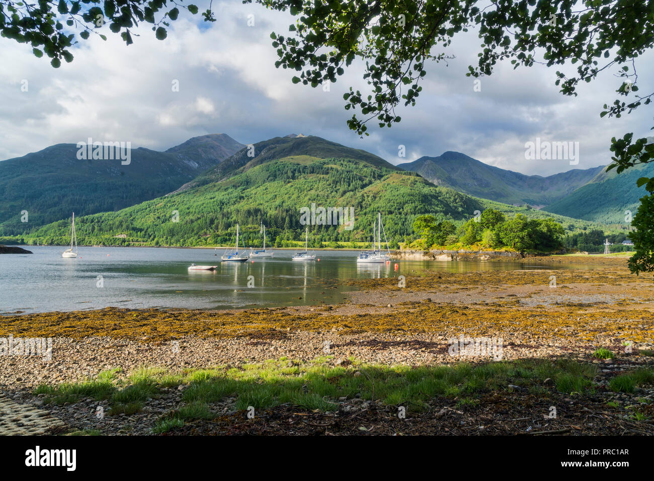 Loch Leven, Bishop's Bay, looking to Glencoe Mountains, North Ballachulish, Highland Region, Scotland UK - Stock Image