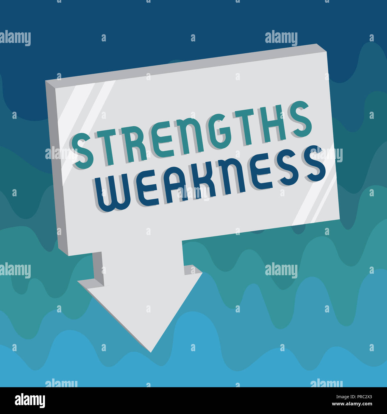 Handwriting text Strengths Weakness. Concept meaning Opportunity and Threat Analysis Positive and Negative. - Stock Image
